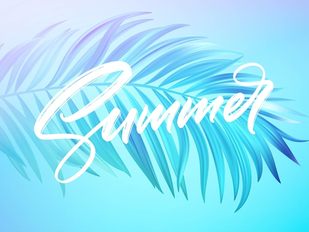 Summer lettering design in a colorful blue and purple palm tree leaves background