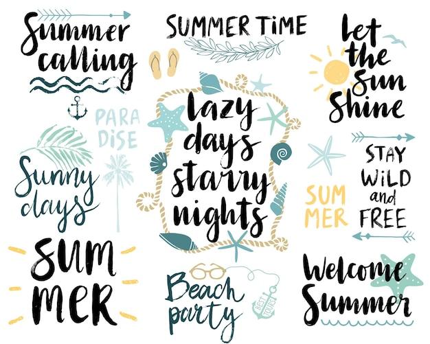 夏のレタリング デザイン セット手描き