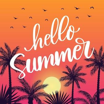 Summer lettering design sunset