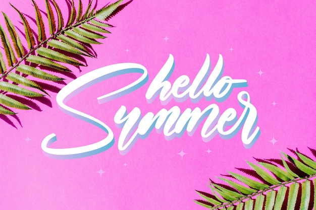 Summer lettering design with photo
