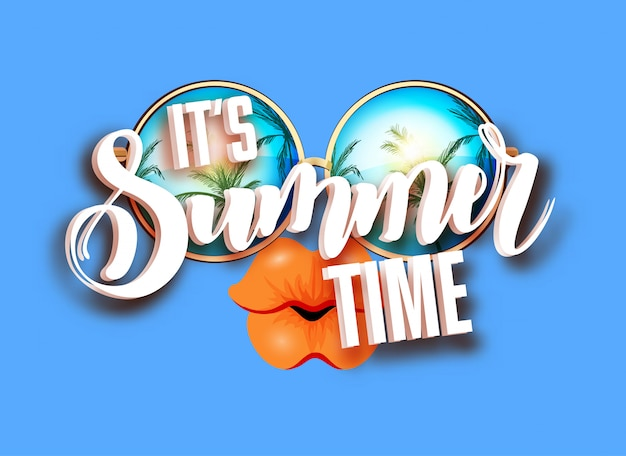 Summer lettering design with sunglasses
