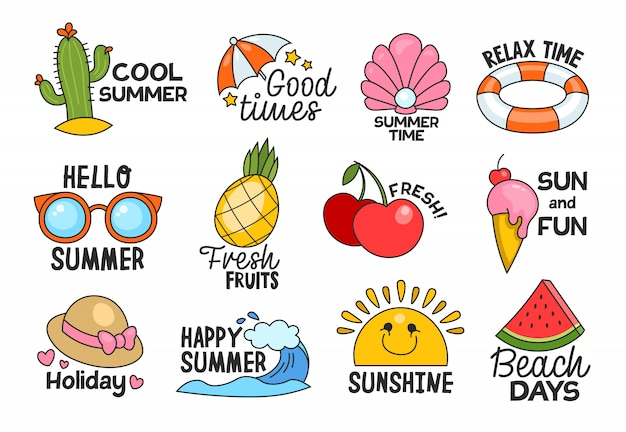 Summer lettering flat labels set