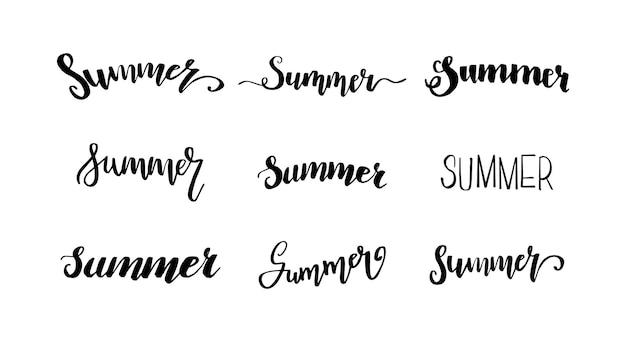 여름 글자 손으로 그린 글자 서예 포스터 배경 엽서 배너 창 인쇄