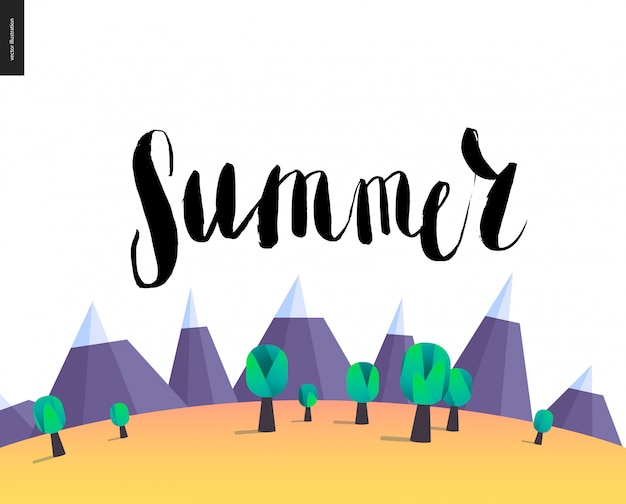 Summer lettering on mountain landscape