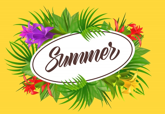 Summer lettering in oval frame with flowers. summer offer or sale advertising