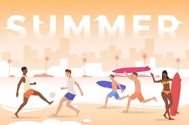 Summer lettering, people playing, holding surfboards on beach