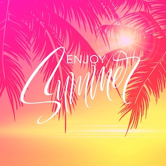 Summer lettering poster with palm trees background in pink colors