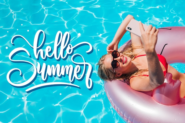 Summer lettering style with photo