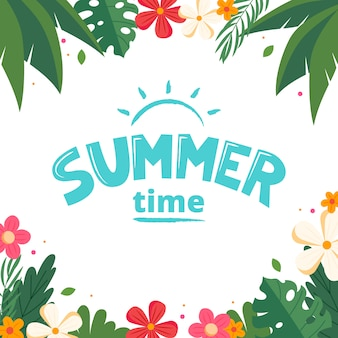 Summer lettering vector. cute colorful floral frame. vector illustration in flat style