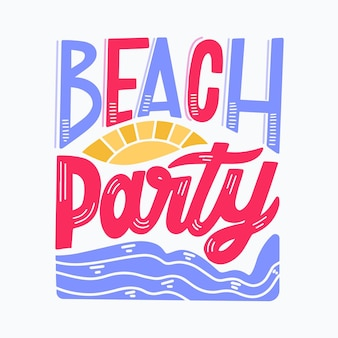 Summer lettering with beach party