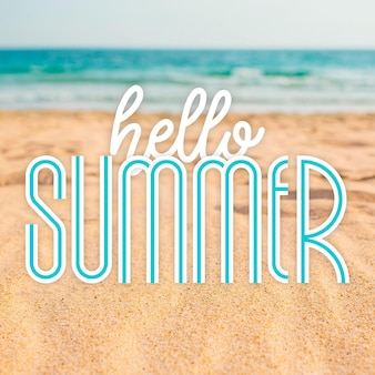 Summer lettering with beach photo
