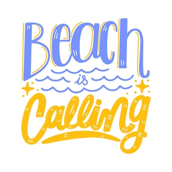 Summer lettering with beach