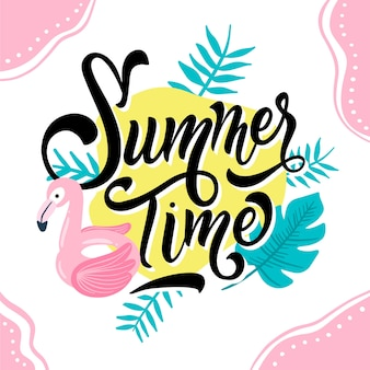 Summer lettering with flamingo and leaves