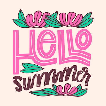 Summer lettering with flowers and leaves