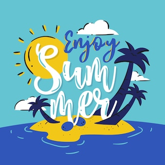Summer lettering with illustration