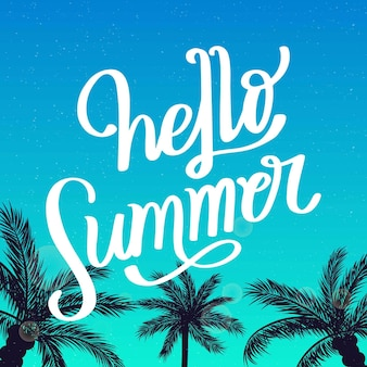 Summer lettering with palm trees