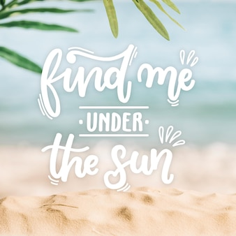 Summer lettering with photo of beach