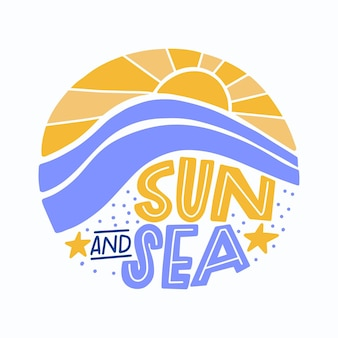 Summer lettering with sun and sea