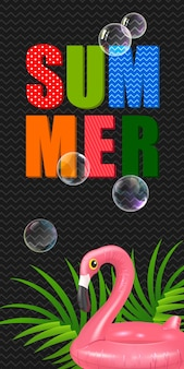 Summer lettering with swimming ring in shape of flamingo. summer offer
