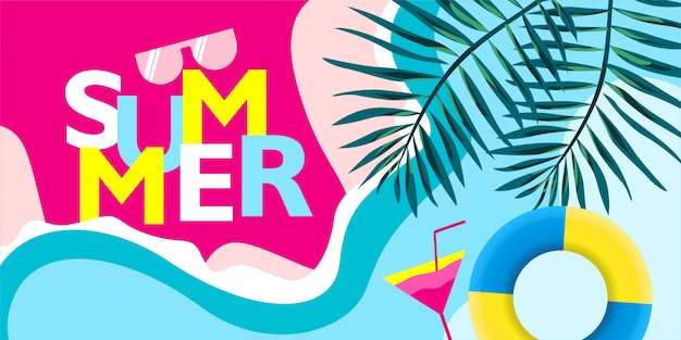 Summer lettering with with colorful beach illustration