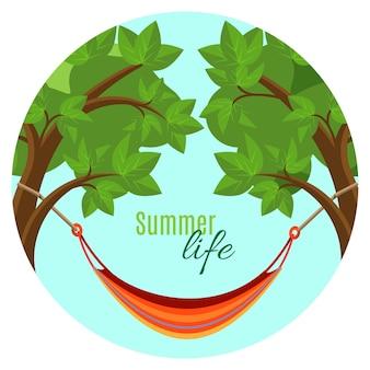 둥근 버튼에 녹색 나무 브런치 사이에 해먹이 매달려 있는 여름 생활 벡터 삽화. 신선한 공기 개념에 휴식