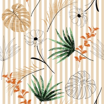 Summer light embroidery tropical forest elements