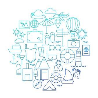 サマーラインアイコンサークルデザイン。休暇や旅行のオブジェクトのベクトルイラスト。