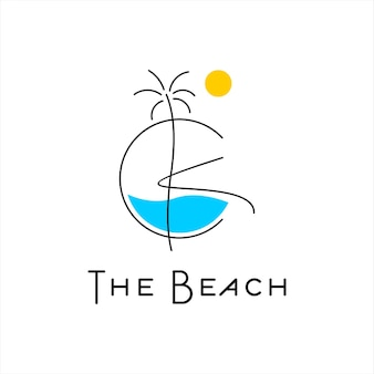 Summer logo design tropical beach vector