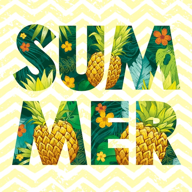 Summer logo with sketch pineapple fruit and tropical leaves.