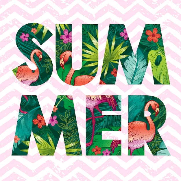 Summer logo with sketch pink flamingo and tropical leaves.