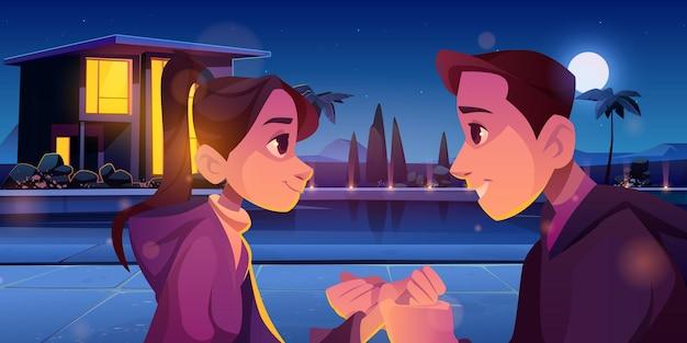 夏の愛のカップルのロマンチックな愛情のある関係 無料ベクター