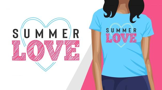 Летняя любовь типография дизайн футболки