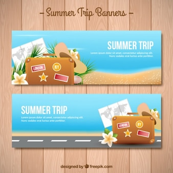 Summer luggage banners Premium Vector