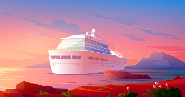Summer luxury vacation on cruise ship at sunset