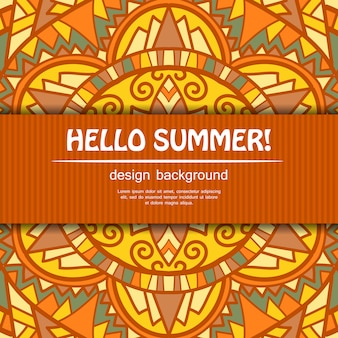 Summer mandala design. ethnic background.