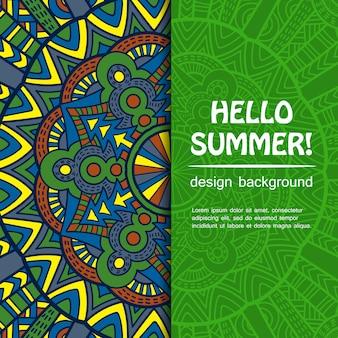 Summer mandala design. ethnic background.