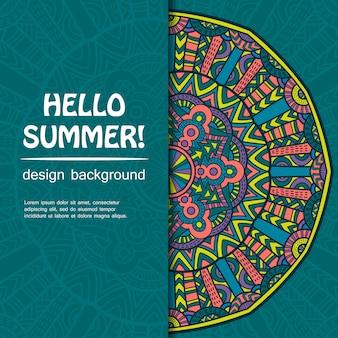 Summer mandala. ethnic background.