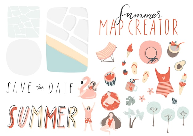Summer map and card creator elements