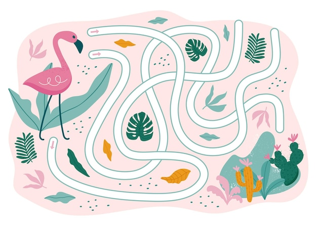 夏の迷路ゲーム。海へのフラミンゴの道。子供のためのゲーム。