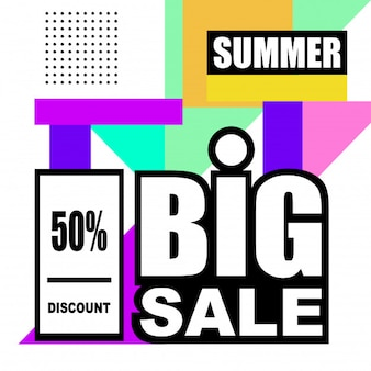 Summer mega sale abstract memphis style web banner