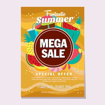 Summer mega sales flat style beach sand theme vector illustration