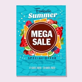 Летние мега продажи свежих фруктов тема иллюстрации