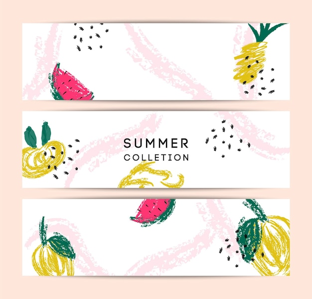 Summer memphis abstract vector card set. hello summer illustrations for card, flyer, banner, poster, social media design template. colorful fruit, pineapple, watermelon, leaves