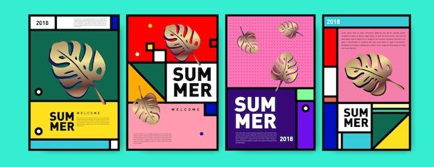 Summer memphis minimalist poster set