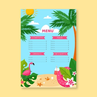 Summer menu template