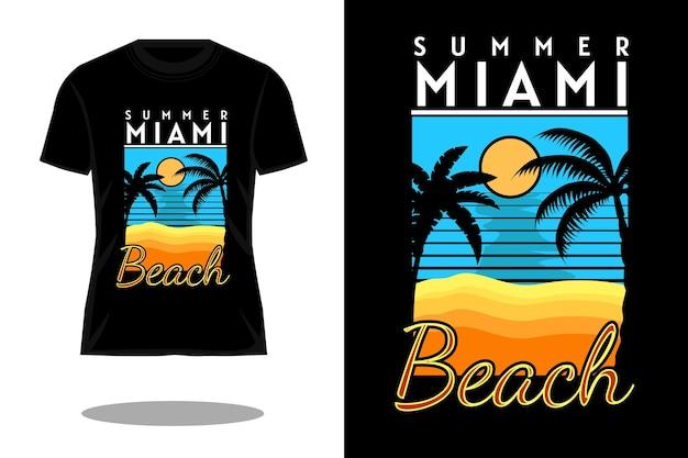 夏のマイアミビーチのシルエットのレトロなtシャツのデザイン
