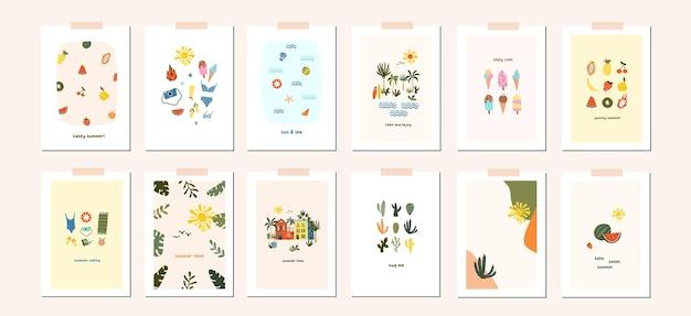 夏気分グリーティングカードヒュッゲポスターテンプレート。夏のシーズンへの招待を歓迎します。ミニマリストのはがき熱帯の葉、ヤシの木、家、抽象的な形。フラット漫画スタイルのベクトル図