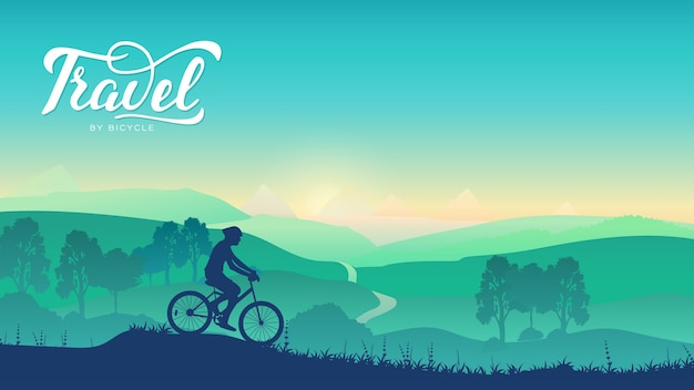 Summer morning nature illustration. sport lifestyle of cyclists. cycling tour from mountain