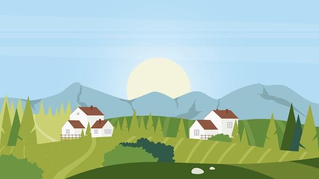 夏の朝の田舎の村の風景自然の背景