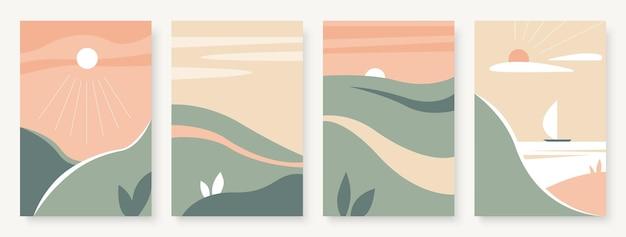 Летний горный абстрактный пейзаж набор шаблонов